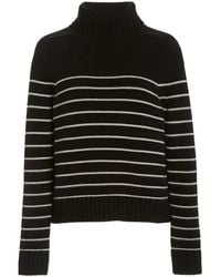 Nili Lotan Molly Striped Cashmere Turtleneck Jumper - Black