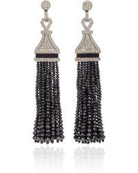 Sanjay Kasliwal - One-of-a-kind Black And White Diamonds Tassel Earrings - Lyst
