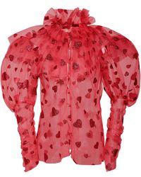 Rodarte Heart-flocked Tulle Top - Pink