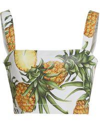 Oscar de la Renta Pineapple-print Poplin Cropped Top - Multicolour