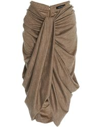 Isabel Marant Datisca High Waisted Draped Knit Skirt - Grey