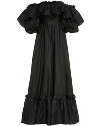 LoveShackFancy Tara Off-the-shoulder Ruffled Taffeta Gown - Black