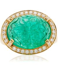 Goshwara 18k Yellow Gold Emerald, Diamond Ring - Green