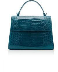 Nancy Gonzalez Lexi Crocodile Top Handle Bag - Blue
