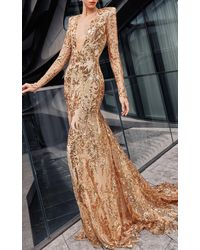 Naeem Khan Sequin Embroidered Gown With Fitted Skirt - Metallic