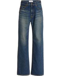 Tu Es Mon Tresor Lapis Lazuli Rigid High-rise Organic Cotton Wide-leg Jeans - Blue