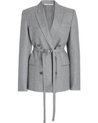 Stella McCartney Lisa Belted Double-breasted Wool Blazer - Grey