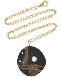 CVC Stones One-of-a-kind Bay 18k Gold Beachstone Necklace - Black