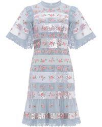 Needle & Thread Rosebud Sequin-embellished Floral Dress - Blue
