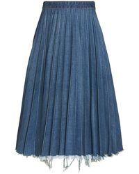 Balenciaga Pleated Distressed Denim Midi Skirt - Blue