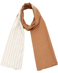 DONNI. - Diagonal Reversible Linen-blend Scarf - Lyst