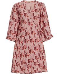byTiMo Printed Crepe Mini Wrap Dress - Pink