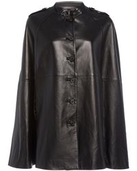 Nili Lotan Jentry Leather Cape - Black