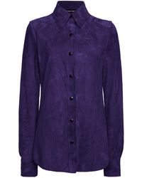 Tom Ford Suede Button-down Shirt - Purple