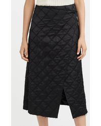 Marina Moscone Quilted-satin Midi Wrap Skirt - Black