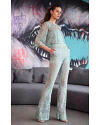Naeem Khan Strapless Embroidered Flared Leg Jumpsuit - Blue