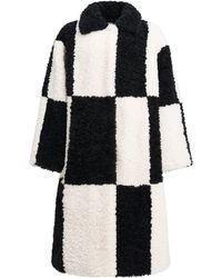 Stand Studio Nikki Checked Faux Fur Coat - Black