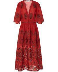 Sea - Three Quarter Sleeves Smocked Dress - Lyst