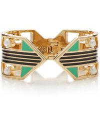 Lulu Frost Verto Gold-plated Faux Pearl And Enamel Cuff - Metallic