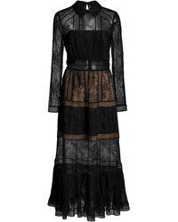 Self-Portrait Fine Lace Trim Midi Dress - Black