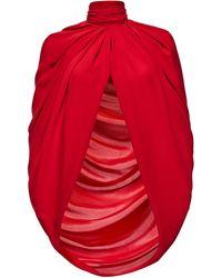 Magda Butrym Medford Scarf-detailed Draped Silk-satin Cape - Red