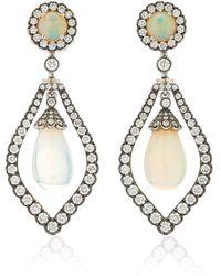 Goshwara G-one 18k White Gold Opal, Diamond Earrings