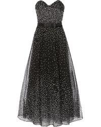 Marchesa Strapless Sequined Tulle Midi Dress - Black