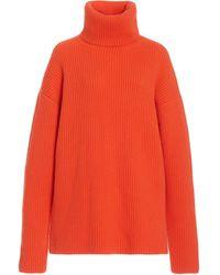 Carolina Herrera Oversized Ribbed-knit Cashmere Turtleneck Jumper - Orange