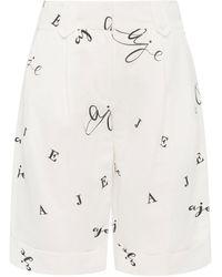 Aje. Psychedelia Logo Linen-blend Bermuda Shorts - White