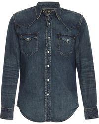 RRL Buffalo Western Cotton-chambray Shirt - Blue
