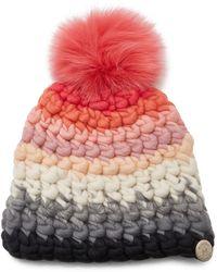 Mischa Lampert Striped Multi-color Wool Beanie - Pink