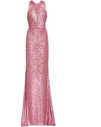 Naeem Khan Criss-cross Sequin Gown - Pink