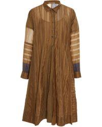 Péro Striped Cotton-silk Shirt Dress - Metallic