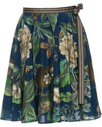 Lena Hoschek - Hummingbird Floral Georgette Mini Skirt - Lyst