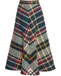 Rosie Assoulin Plaid Wool-cotton A-line Midi Skirt - Multicolor