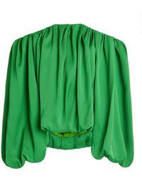 Hellessy Valerie Satin Piqué Off-the-shoulder Top - Green