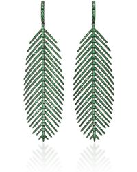 Sidney Garber - 18k Feathers That Move Tsavorite Earrings - Lyst