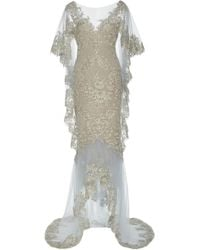 Marchesa - Draped Corded Lace Gown - Lyst