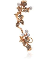 Colette - 18k Rose Gold, Pearl And Diamond Ear Cuff - Lyst