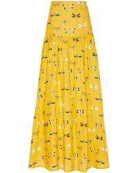 Agua by Agua Bendita Anis Printed Linen Maxi Skirt - Yellow