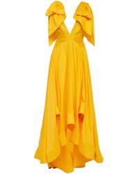 Acler Bargo Asymmetric Ruffled Linen-blend Gown - Yellow