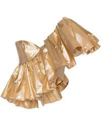 Rasario Exclusive Ruffled One-shoulder Metallic Silk Top