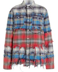 R13 Distressed Patchwork Plaid Cotton Flannel Shirt - Multicolor
