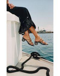 Cult Gaia Kelly Embellished Leather Sandals - Black
