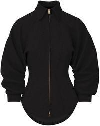 Brandon Maxwell Zip-front Mélange Shirt - Black
