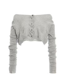 Miu Miu Off-the-shoulder Ribbed-knit Cashmere Silk Top - Gray