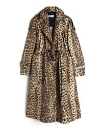 Victoria Beckham Leopard Panelled Tech Trench Coat - Multicolour