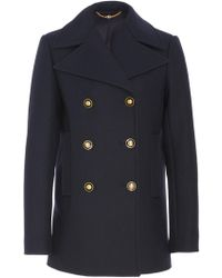 Tory Burch Collared Double-breasted Wool-blend Peacoat - Blue