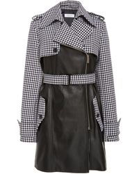Michael Kors Cropped Dogtooth-print Leather Trench Coat Siz - Black