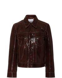 Ganni Snake-print Leather Jacket - Brown